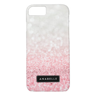 Pink Ombre Glitter and Bokeh Pattern iPhone 8/7 Case