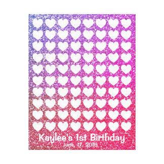 Pink Ombre Glitter Signature Fingerprint Guestbook