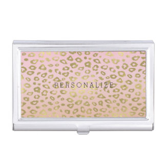 Pink Ombre Gold Leopard Print Business Card Cases