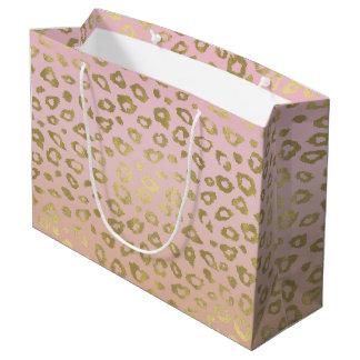 Pink Ombre Gold Leopard Print Large Gift Bag