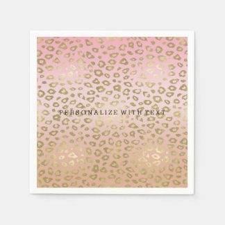 Pink Ombre Gold Leopard Print Paper Napkin