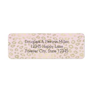 Pink Ombre Gold Leopard Print Return Address Label