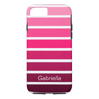 Pink Ombre Gradient Colorful Stripe iPhone 8/7 Case