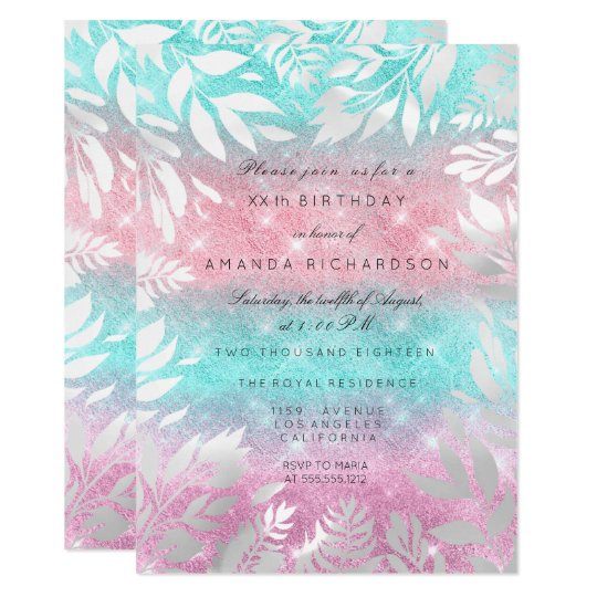 Pink Ombre Ocean Glitter White Floral Frame Card