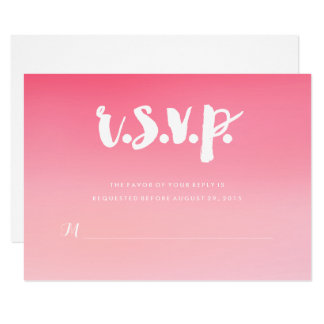 Pink Ombre Watercolor Wedding RSVP Card