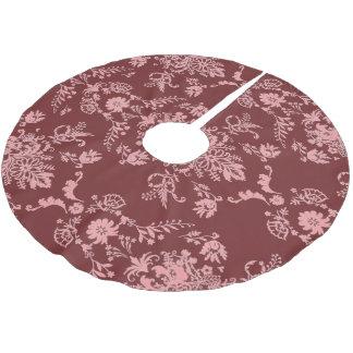 Pink on Maroon Damask Brushed Polyester Tree Skirt