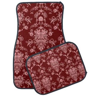 Pink on Maroon Damask Car Mat