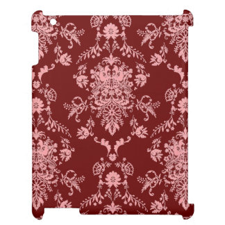 Pink on Maroon Damask Cover For The iPad 2 3 4