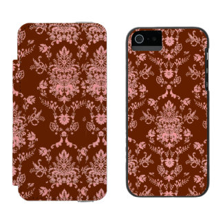 Pink on Maroon Damask Incipio Watson™ iPhone 5 Wallet Case
