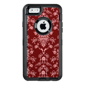 Pink on Maroon Damask OtterBox Defender iPhone Case