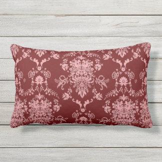 Pink on Maroon Damask Outdoor Cushion