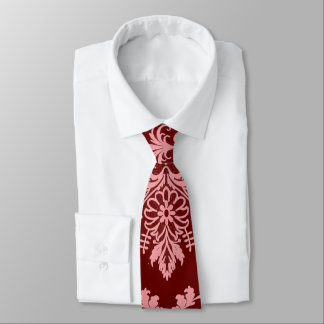 Pink on Maroon Damask Tie