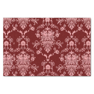 Pink on Maroon Damask Tissue Paper