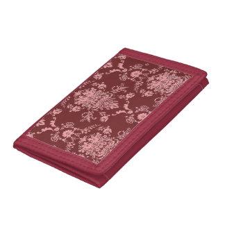 Pink on Maroon Damask Tri-fold Wallet