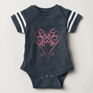 Pink on Navy Tribal Heart Pattern Bodysuit