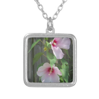 Pink on pink duo of hibiscus flowers silver plated necklace