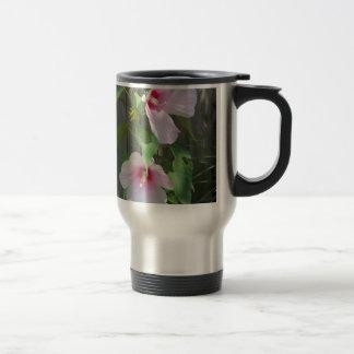 Pink on pink duo of hibiscus flowers travel mug