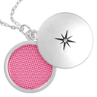 Pink on Pink Heart Design Round Locket Necklace
