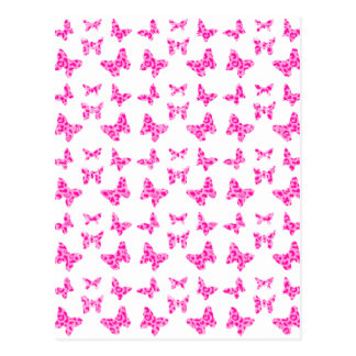 Pink On Pink Leopard Spot Butterfly Pattern Postcard