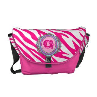 Pink on Pink Zebra Print Monogram Messenger Bag
