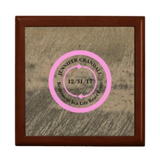 Pink on Taupe Retirement Keepsake Box