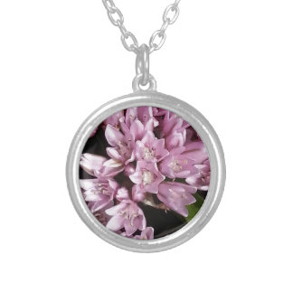 Pink Onion Flowers Silver Plated Necklace