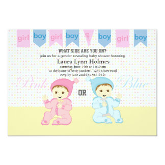 Pink or Blue Gender Revealing Baby Shower Invites