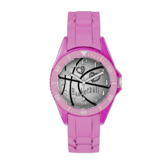 Pink or White Basketball Watches for Women & Girls