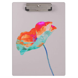 Pink orange and blue poppy flower floral design clipboard