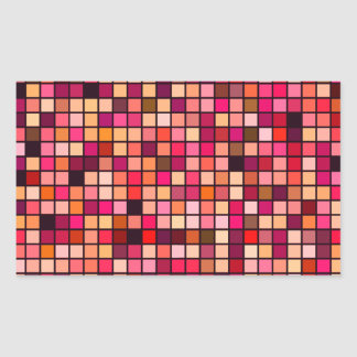 Pink, Orange And Earth Tones Squares Pattern Rectangular Sticker