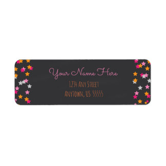 Pink, Orange and Silver Stars on Chalkboard Return Address Label
