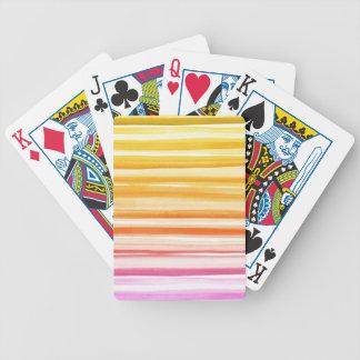Pink Orange Brushstroke Watercolor Ombre Pattern Poker Deck