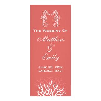 Pink Orange Coral Reef Seahorse Wedding Program Rack Card