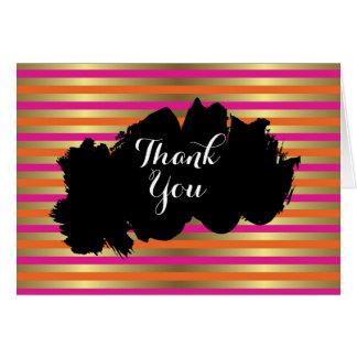 Pink, Orange & Faux Metallic Gold Stripe Thank You Card