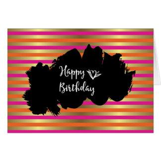 Pink, Orange & Faux Metallic Gold Stripes Birthday Card