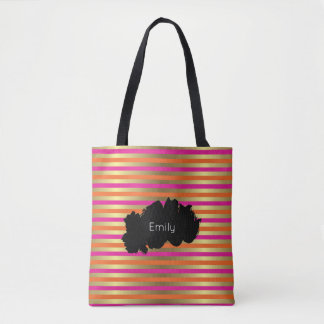 Pink, Orange & Faux Metallic Gold Stripes Tote Bag