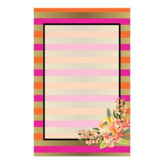 Pink, Orange & Faux Metallic Stripes w/ Florals Stationery