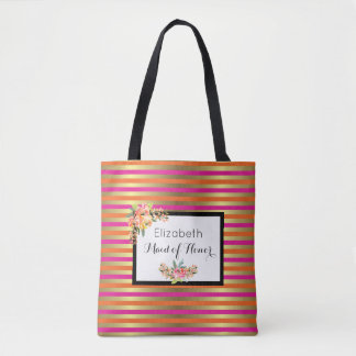 Pink, Orange & Faux Metallic Stripes w/ Florals Tote Bag