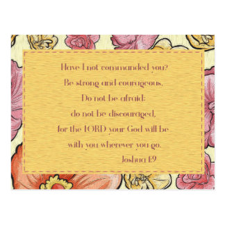 Pink Orange Floral Bible Verse Joshua 1:9 Postcard