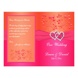 Pink Orange Floral, Hearts Wedding Program 21.5 Cm X 28 Cm Flyer