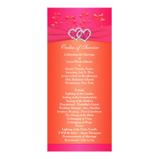 Pink Orange Floral, Hearts Wedding Program 2 Personalized Rack Card
