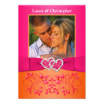 Pink, Orange Floral Joined Hearts PHOTO Invite