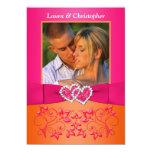 Pink, Orange Floral Joined Hearts PHOTO Invite 13 Cm X 18 Cm Invitation Card