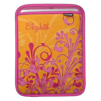 Pink Orange Floral Personalized iPad Sleeve