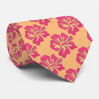 Pink Orange Floral Tropical Hibiscus Flower Tie