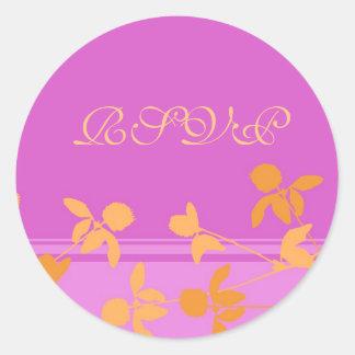 Pink Orange Floral Wedding RSVP Envelope Seals Round Sticker