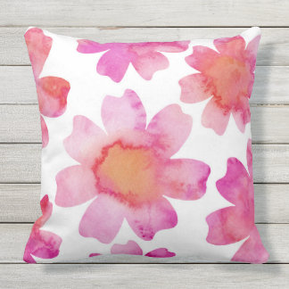 Pink Orange Flowers Cushion