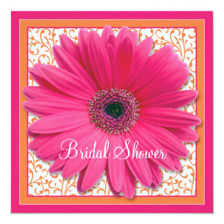 Pink Orange Gerbera Daisy Bridal Shower Invitation