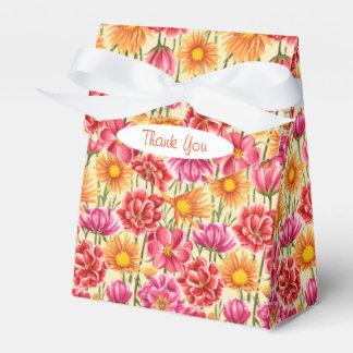 Pink, Orange, Gold Flowers Tent Favor Box