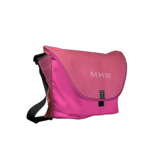 Pink Orange Gradient custom monogram messenger bag